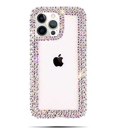 Bonitec Compatible with iPhone 13 Pro Max Case for Women Girls 3D Glitter Sparkle Bling Case Luxury Shiny Cute Crystal Charms Rhinestone Diamond Bumper Clear Protective Cases Cover Clear