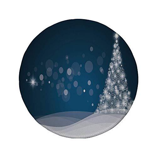 Rutschfreies Gummi-rundes Mauspad Weihnachten Fantasy-Hintergrund Abstrakter Weihnachtsbaum Traumähnliche Schneeflocken Punkte Winterzeit-Dekorativ Dunkelblau-Weiß 7.9
