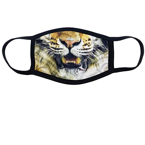 Soft Cotton/Polyester Face Mask - 3 Layer for Outdoors & Travel w/Ear Loops Reusable Covering Funny Printed Graphics by MASKAGE (Tiger FACE)