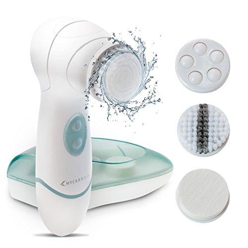 MYCARBON Gesichtsreinigungsbürste 4 in 1 Gesichtsbürste Elektrisch zum Tiefenreinigung Peelen Einmassieren mit 2 Stufige Rotation Reinigungsbürste für Sensible Haut und jeden Hauttyp Wasserfest IPX5