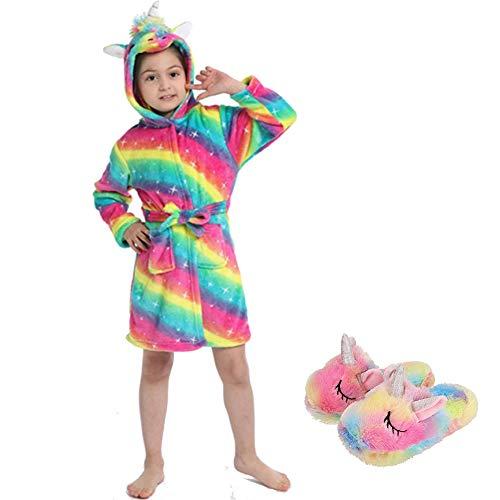 Ruiuzioong Kinder Sanft Einhorn Kapuzenbademantel und Einhornschuhe Mit Kapuze Bademantel Nachtwäsche Einhorn-Geschenke für Mädchen (Cuo-Rainbow,6-7 T)