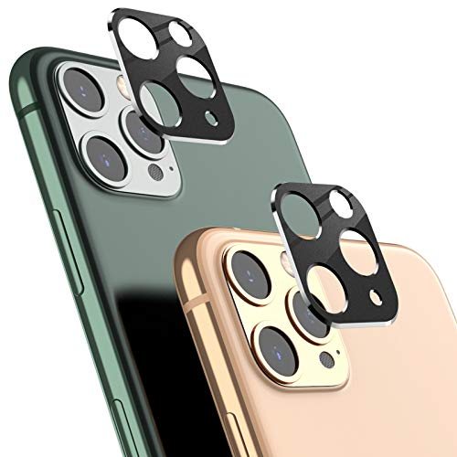 AUCHIKU Kamera Schutzhülle Kompatibel mit iPhone 11 Pro/11 Pro Max[2 Stück],2.5D Volle Abdeckung Kameraschutzhülle Kratzfester Schlagfester Kamera Objektivrahmen Metall Linsen Schutz Hülle(Schwarz)