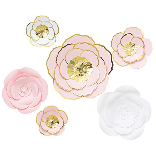 3D Large Paper Flowers Decorations for Wall, Wedding, Baby Shower, Party, Nursery Decor, Bridal Shower, Flower Backdrop, Home Decor Set 6 pcs (Pink, White)