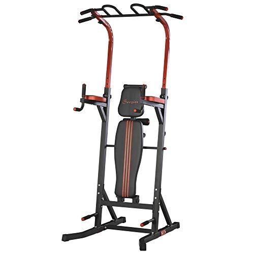 HOMCOM Station de Musculation Fitness Entrainement Complet - Barre de Traction, à dips, Banc de Musculation Pliable, poignées Push-up - Acier Noir Rouge