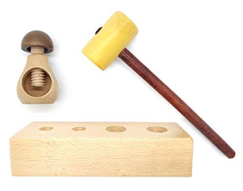 Lote de 2 cascanueces de madera para nueces avellanas almendras y frutos secos - Fabricados artesanalmente - Diseño en forma de seta y mazo con base