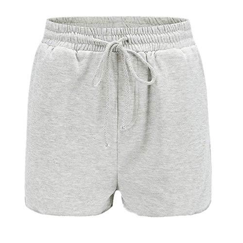 Pantalones cortos para mujer, pantalones cortos casuales sueltos, ropa de playa para niña, cintura alta, pantalones cortos para mujer - gris - X-Large