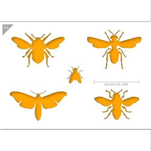 QBIX Insektenschablone - Wespen, Fliegen, Bienen, Motten, Insekten - Größe A5 - Wiederverwendbare kinderfreundliche DIY-Schablone für Malen, Backen, Basteln, Wand, Möbel