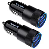 Car Charger, [2Pack] 3.4a Fast Charge Dual Port USB Cargador Carro Lighter Adapter for iPhone X XR XS Max 8 Plus 7s 6s, 11 Pro Max, iPad, Tablet, Samsung Galaxy S10 Plus S7 j7 S10e S9 Note 8, LG, GPS