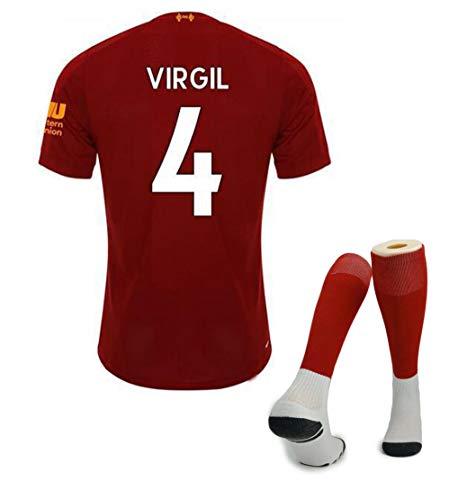 Kinderen voetbal T-Shirt, 19-20 Liverpool Vest Kit, 4# Virgil 9# FIRMINO 10# Mane 11# M.Salah voetbalkleding, zacht en comfortabel voetbal Jersey