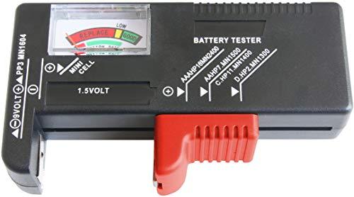 Werkzeyt Batterietester - Mit analoger Anzeige - Zum Prüfen des Ladezustands - Ideal für Batterietypen AAA, AA, C, D (1,5 Volt & 9 Volt) - Einfache Bedienung / Batterie-Prüfgerät / Messgerät / B29821