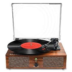 Vinyl Plattenspieler Bluetooth Plattenspieler mit eingebauten Lautsprechern und USB Riemenantrieb Vintage Phonograph Plattenspieler 3 Geschwindigkeiten für Unterhaltung und Heimdekoration