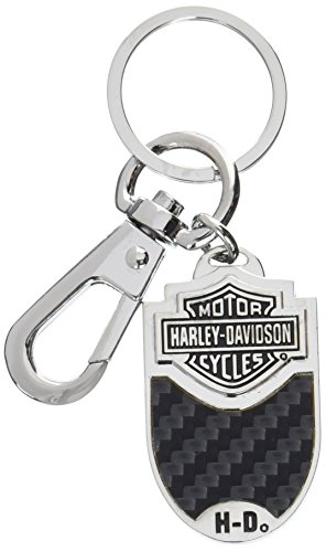 Harley-Davidson Bar & Shield Carbon Fiber Vinyl Inlay Key Chain (Black / Oval)