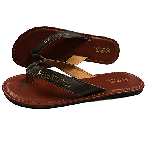 Puerto Rico Sandals Brown PR (Fabric-and-Leather, 11)