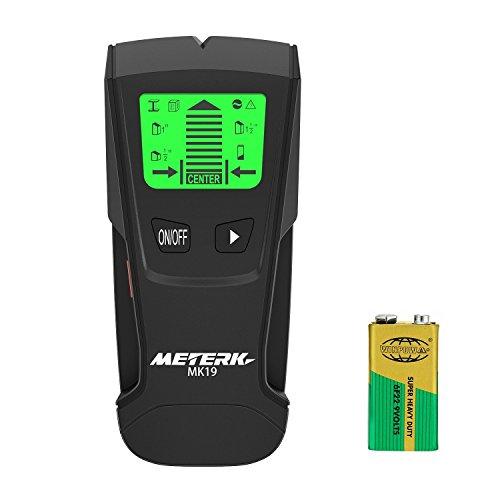 Detector de Pared , Meterk LCD multifuncional localizador digital Madera studs centro buscador de Metal y AC Cable Live Wire escáner recargable incluye detección de alerta