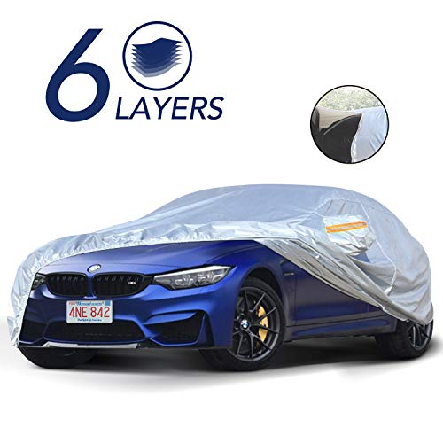 TWING Car Cover Universal Full Car Covers with Zipper Door 6 Layers All Weather Protection Waterproof Windproof Snowproof Dustproof Scratch Resistant UV Protection (fit Sedan up to 185'')