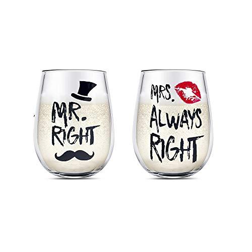 Pareja Copas de vino Conjunto Cristal Sin tallo Copa de vino, Regalos para San Valentín Boda Compromiso Aniversari, para Su Suyo Marido Esposa Novio Novia Amantes(MR RIGHT and MRS ALWAYS RIGHT)