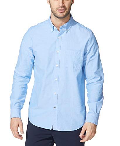 Nautica Men's Long Sleeve Button Down Oxford Shirt, Light French Blue, Medium