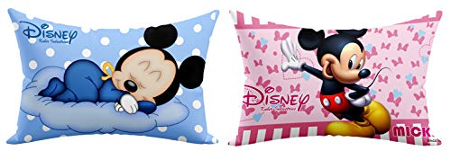 """""""Kuber Industries Disney Printed Toddler Kids Pillow Silky Soft Microfiber Polyester, Perfect for Travel,Toddler Cot,12""""x18"""" (Sky Blue & Pink)-Pack of 2-KUBMART15838"""", Assorted, standard"""