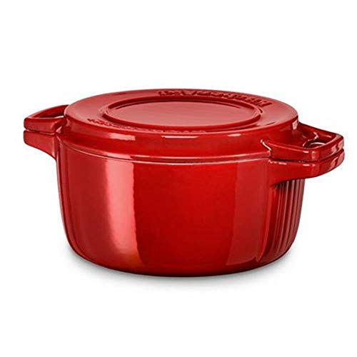 KitchenAid Kcpi 40CRER Cast 24 x 24 x 10 cm Cast Iron Oval Casserole, Empire Red