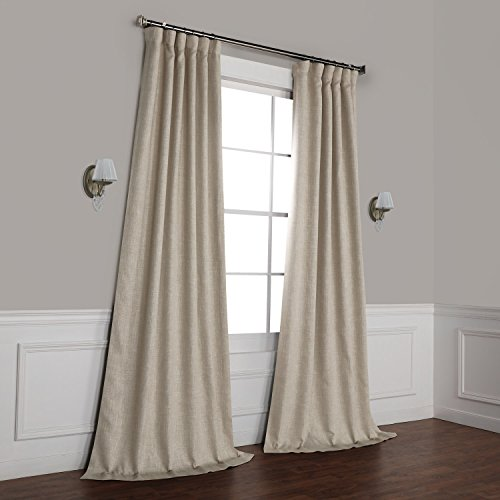 HPD Half Price Drapes BOCH-LN1857-108 Faux Linen Blackout Room Darkening Curtain (1 Panel), 50 X 108, Oatmeal