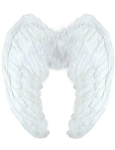 Yummy Bee Alas de Plumas Verdad Angel Diablo Despedidas de Soltera Halloween Fiestas de Disfraces Adulto Grandes 60 x 40 cm (Mujer: Talla única, Blanco)