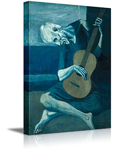Crystal Emotion The Old Guitarist Pablo Picasso, World Famous Painting Replica Art Reproduction on Wrapped Canvas Print Modern Home Decor Wood Framed &, Stretched and Framed Ready to Hang 16x24inch