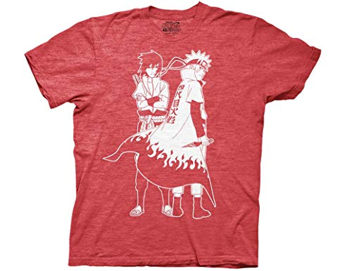 Ripple Junction Naruto Shippuden Naruto and Sasuke Outline Adult T-Shirt Small Red Heather