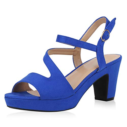 SCARPE VITA Damen Plateau Sandaletten Riemchensandaletten Blockabsatz Schuhe High Heels Sandalen Sommerschuhe 192163 Blau Total 39