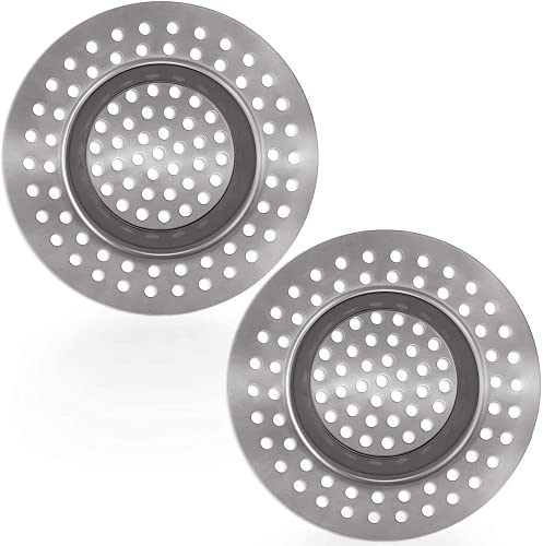 (Set of 2) Stainless Steel Kitchen Sink Strainer Plug, Standard Strainer Drain Protector for Bathroom/Kitchen, Hair Catcher for Bathtub/Shower 3 inches 7.5 cm by Tomario(Model-2)