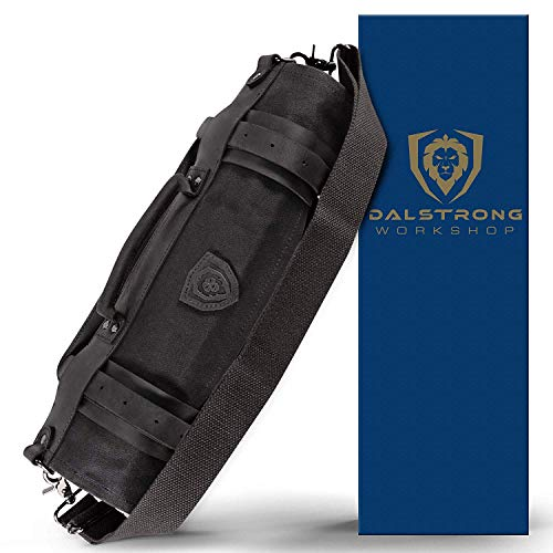 Dalstrong - Nomad Knife Roll - 12oz Heavy Duty Canvas & Top Grain Leather Roll Bag - 13 Slots - Interior and Rear Zippered Pockets - Blade Travel Storage/Case (Nightmaster (Black))