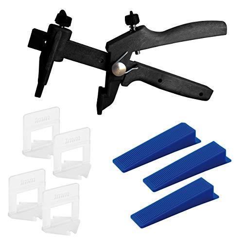 Lantelme Fliesen Nivelliersystem 1mm Fuge mit Zuglaschen Keile und Zange im Set Höhe 3-15mm Fliesenverlegehilfe 5310