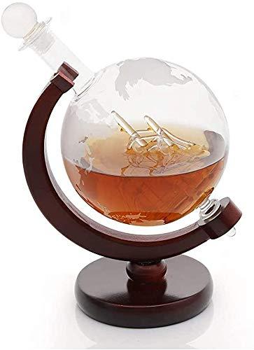 HAITRAL Welt Radierung Globus Glas Whisky Dekanter mit handgefertigtem Segelschiff und Fiberboard Stand, Dekanter für Whisky Rum Wine Spirits Liquor, Vater & Ehemann, 750ML