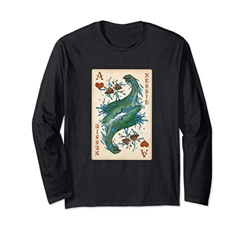 Nessie, Loch Ness Monster Original Cryptid Playing Card Art Maglia a Manica