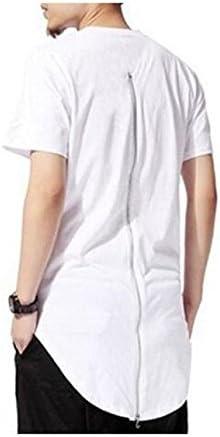 Genius Baby Men Hipster Hip Hop Back Zip Long T Shirts L White product image