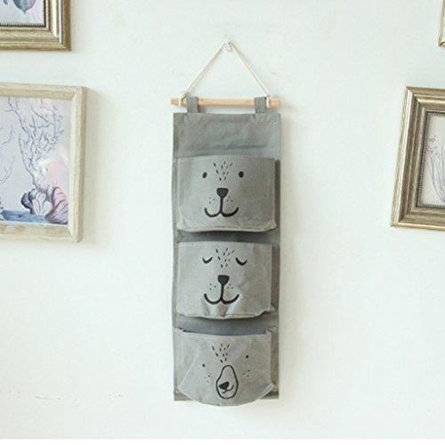 GWELL Süß Ordnungssysteme Hängender Organizer mit 3 Taschen Hängeorganizer Hängeaufbewahrung Aufbewahrungstasche für Kinderzimmer Schlafzimmer Tür grau