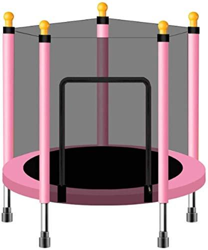 QING YUAN Cama elástica de 140 cm para bebés y niños en el hogar, para saltar, ejercicio físico infantil, con red de protección, cama al aire libre, color rojo