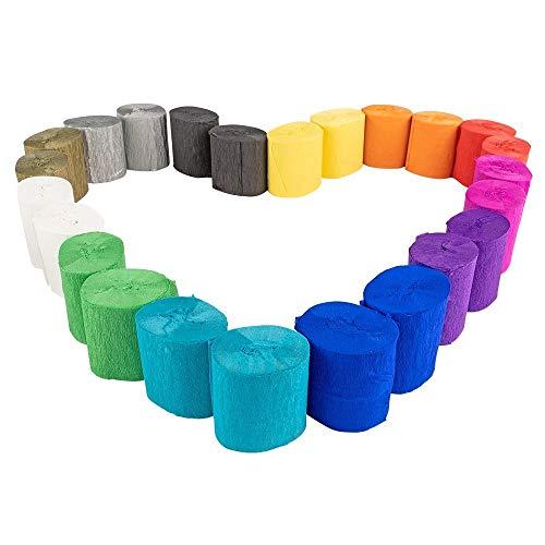 24 Rollen Krepp-Papier | Krepp-Bänder | 12 Farben | je 10 m pro Rolle | 5 cm breit | 17g/m² | Bastelpapier | Bastelkrepp