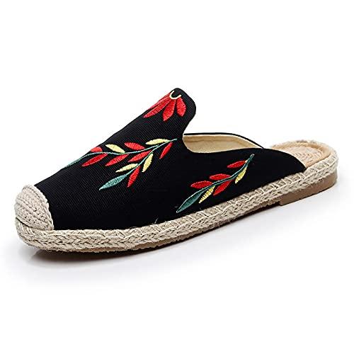 QIMITE Pantofole - Stile Cinese Foglie Ricamate Pantofole Baotou Scarpe da Spiaggia da Donna Abbigliamento da Spiaggia Canapa Corda Paglia Pescatore Scarpe Sandali Piatti, Nero,39