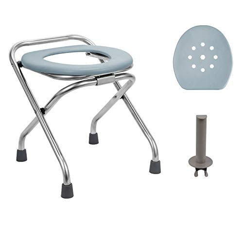 BLIKA 16.5' High Stainless Steel Folding Commode Portable Toilet Seat, Commode Chair with Lid and Toilet Paper Holder