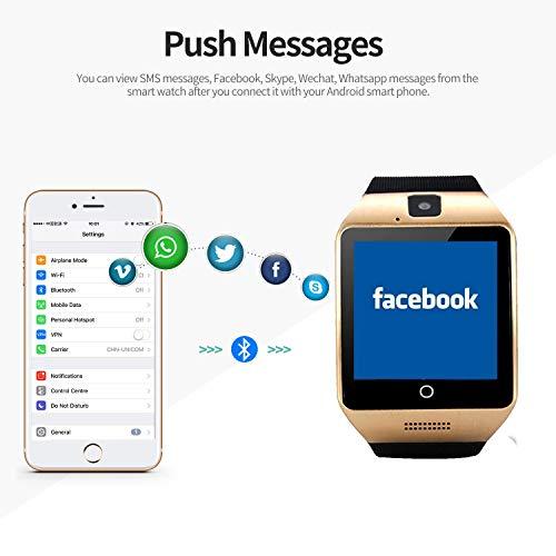Montre Connectée Bluetooth Smartwatch avec Caméra SIM Carte Ecran Tactile Sport Pédomètre Moniteur de Sommeil Compatible pour Samsung Huawei Xiaomi Sony Android iPhone Femme Homme Enfant (Noir)