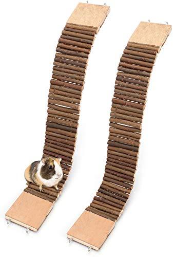 Yesland 2 Stück Hängebrücke aus Holz, 54 x 7,9 cm, Kleine Leiter / Biegbarer Tunnel, Große Kletterleiter und Kauspielzeug für Hamster, Meerschweinchen, Chinchilla, Frettchen und Kleintiere