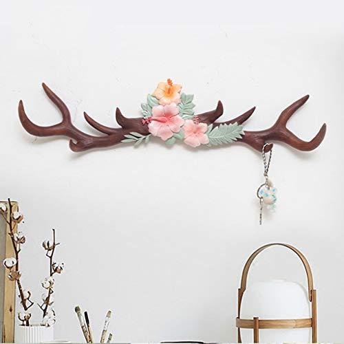 LIN HE SHOP Antler décoration résine Crochet, Porte-vêtements Mur tête de cerf Crochets Rack, pour Salon Chambre personnalité décoration Murale (Couleur : Brown)