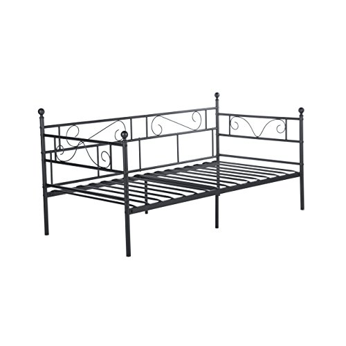 H.J WeDoo Daybed Single Bed Frame with Headboard and Solid Metal Slat Mattress Platform Base Guest Bed Frame Sofa Bed for Living Room Guest Room(Black)