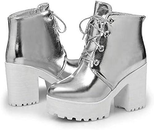 IWxez botas de Moda para mujer PU (Poliuretano) botas de otoño Tacón Grueso Botines con Punta Cerrada Botines Dorado Plateado