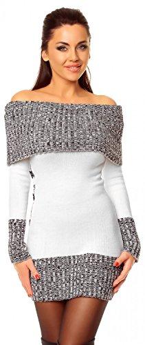 Zeta Ville - Damen Pullover aus Grobstrick Carmen-Ausschnitt Strick-kleid - 913z (Weiß, 38/42)