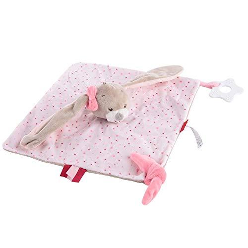 Baby sussen handdoek, afneembare baby kalmeren handdoek Leuke cartoon dier Baby baby kalmeren sussen handdoek Zachte pluche geruststellend speelgoed voor 0-36 maanden Pasgeboren baby's(konijn)