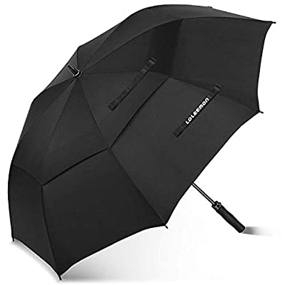 LOLEEMON Golf Umbrella Windproof with 68 Inch Large, Double Teflon Umbrella Black