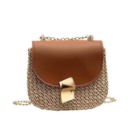 Meiibo Bohemian Rieten Zadeltas Schoudertas Gevlochten Tassel Bucket Bag Chain Messenger Bag 1 Stks voor Dames voor Outdoor Activiteiten18*7 * 15CM
