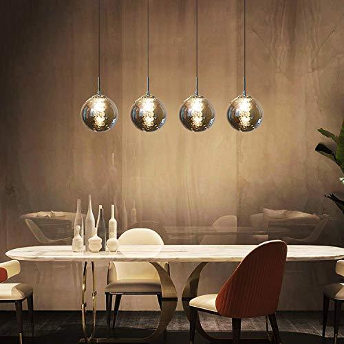CBJKTX Pendelleuchte esstisch Pendellampe Höhenverstellbar Kronleuchter Hängeleuchte 4-Flammig aus Glas in Farbe Grau Küchen Wohnzimmerlampe Schlafzimmerlampe Flurlampe