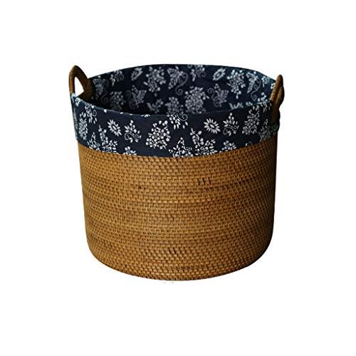 ZL Elegante ronde handgeweven rotan wasmand met 2 handgrepen, afneembaar blauw katoenweefsel liner, ideaal voor badkamer kleding organisatie oplossingen Decor Enhance